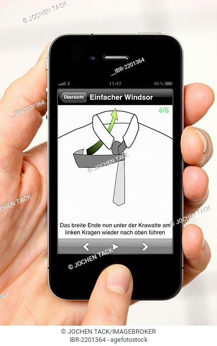 Iphone, smart phone, app on the screen, instructions on how to tie a tie