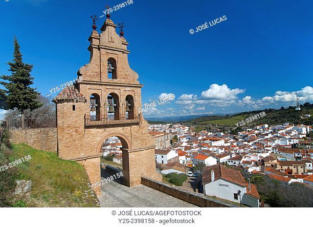 Belfry gate of the castle and village, Aracena, Huelva province, Region of Andalusia, Spain, Europe