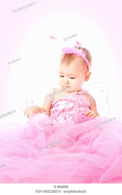 Baby Girl in Pink Dress, Child Beauty Portrait, Cute Infant Kid Dressed in Angel Costume