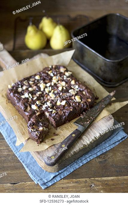 Home made pear and chocolate brownie, no flour