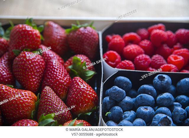 Strawberries, blueberries and raspberries. Still life