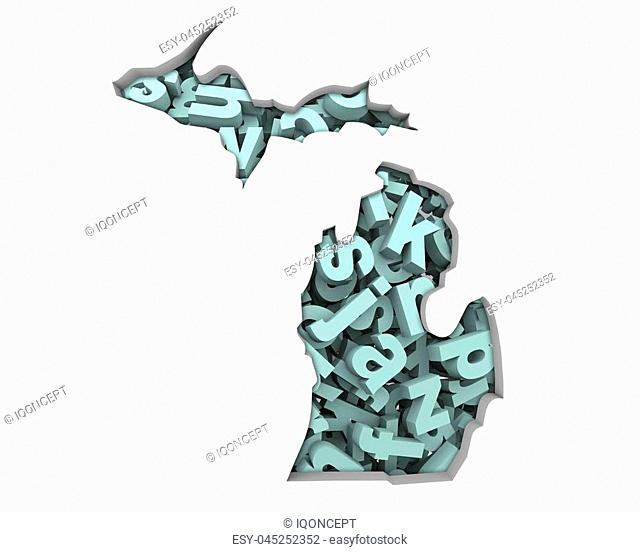 Michigan MI Letters Map Education Reading Writing Schools 3d Illustration