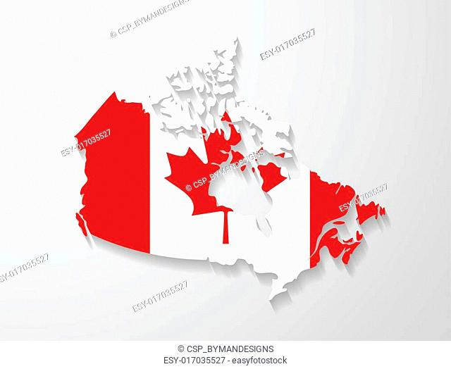 Canada map with shadow effect