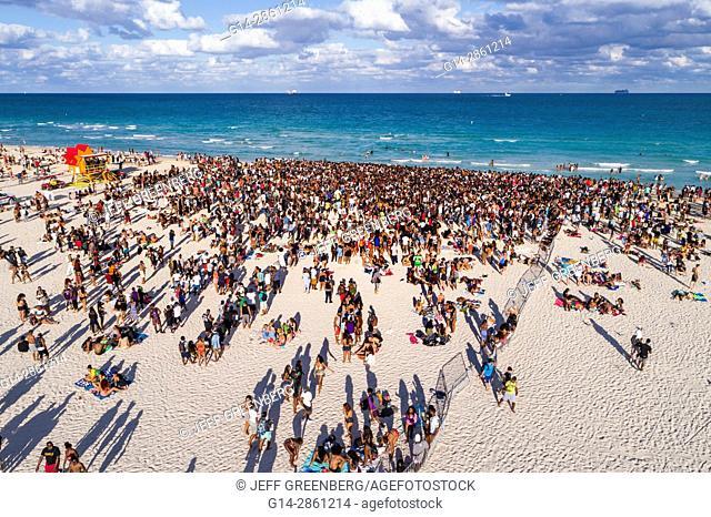 Florida, Miami Beach, Atlantic Ocean, Spring Break, college university, Black, teen, boy, girl, student, crowd, aerial overhead view