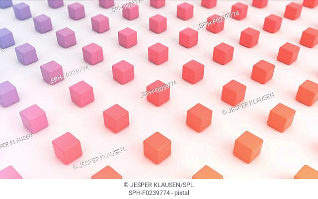 Small 3d multi colour cubes, abstract computer illustration
