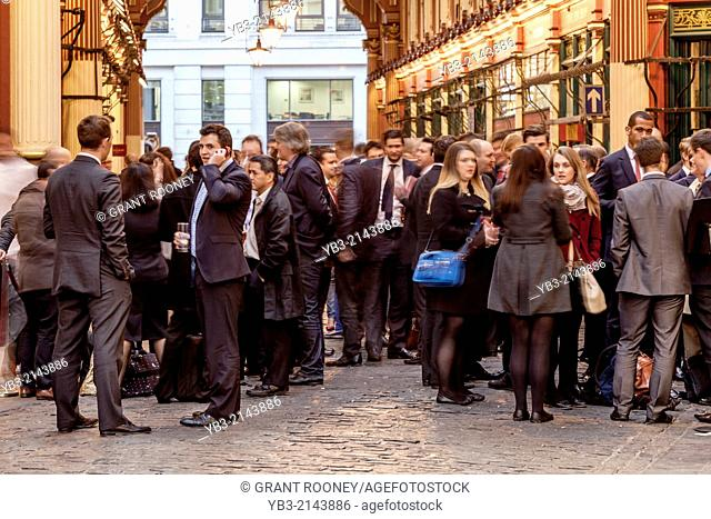 City of London Workers Drinking After Work, Leadenhall Market, London, England
