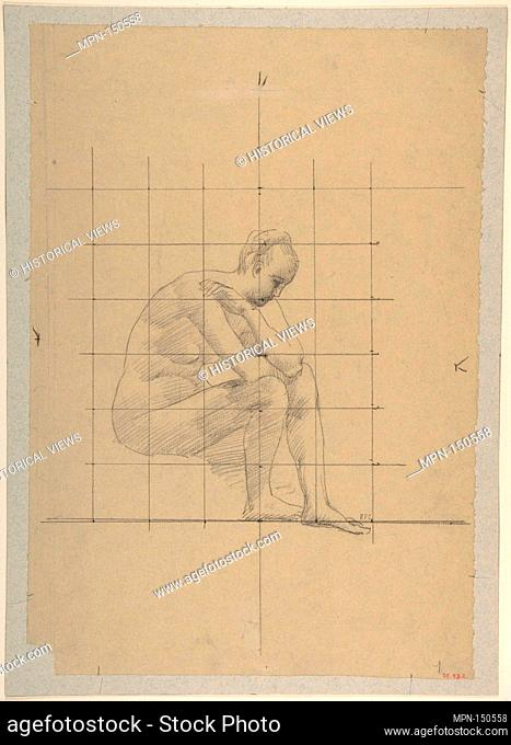 Seated Figure: Study for 'A Vision of Antiquity'. Artist: Pierre Puvis de Chavannes (French, Lyons 1824-1898 Paris); Date: 1883-85; Medium: Fabricated black...