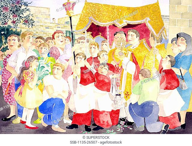 The Feast of Corpus Christi  29th May 1997 Kenneth Zammit Tabona (b.1956/Maltese) Pen, ink and gouache