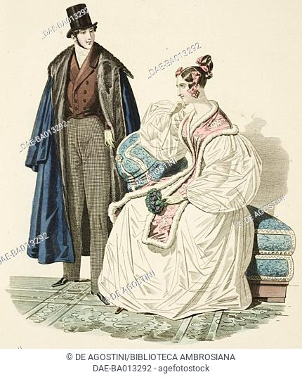 Female sketch with white dress and stole and male sketch in morning suit, overcoat and top hat, plate 65 taken from Parisian Fashion