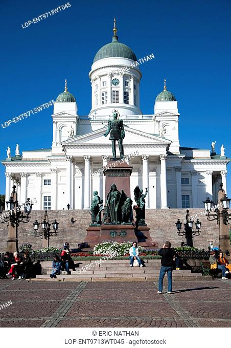 Finland, Uusimaa, Helsinki. Looking up at Helsinki cathedral in the capital of Finland