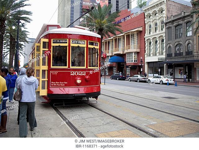A streetcar on Canal Street, New Orleans, Louisiana, USA