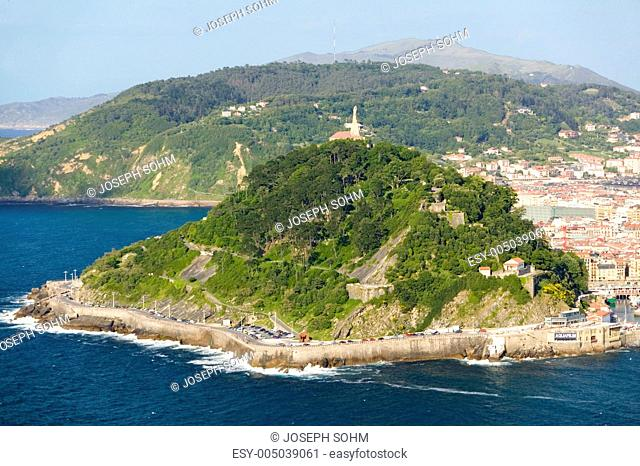 Isla Santa Clara Island in Bahia de La Concha, Donostia-San Sebastian, Basque region of Spain, the Queen of Euskadis and Cantabrian Coast