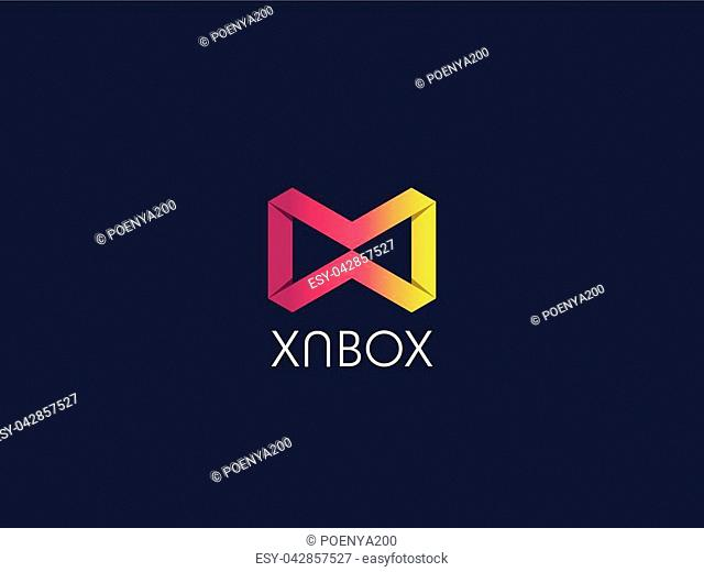 Abstract geometric letter MW WM logo template with hexagonal element object. infinite cube box shape icon symbol design for mail, corporate business, apps