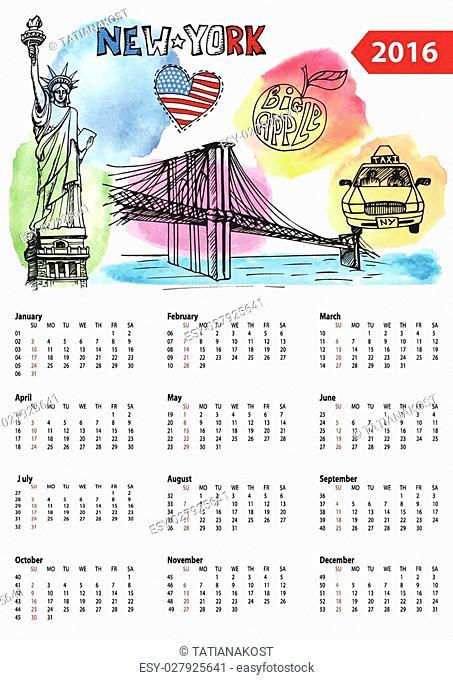 Calendar 2016 New year.New York.American symbols Statue of Liberty,Brooklyn Bridge, flag,taxi.Doodle hand drawn sketch.Watrcolor splash