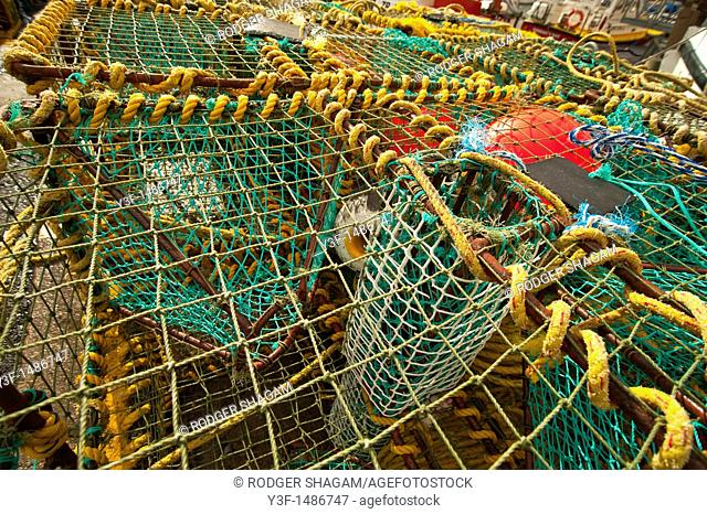 Crayfish nets ona boat in Hout Bay Harbour, South Africa