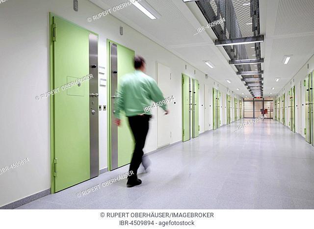 Corridor with doors, jail, Düsseldorf prison, North Rhine-Westphalia, Germany