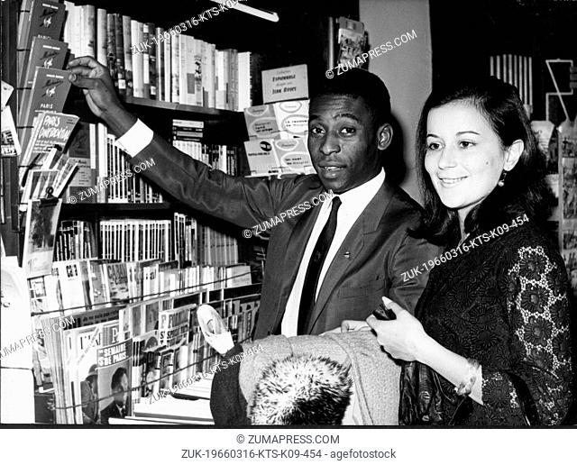 March 16, 1966 - Paris, France - Brazilian soccer player EDSON NASCIMENTO 'PELE' with his new wife shopping while on their honeymoon in Paris