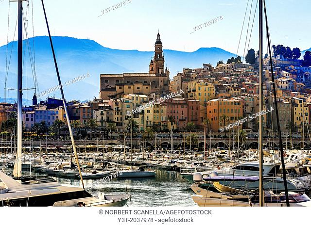 Europe, France, Alpes-Maritimes, Menton. Old town and the marina