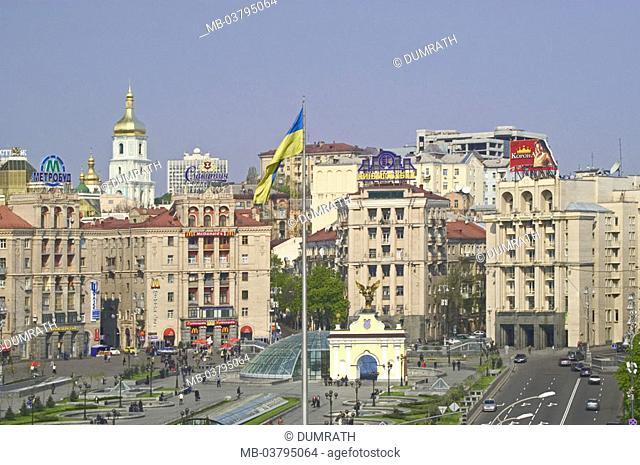 Ukraine, Kiev, Khreschatik-Boulevard, Burst the independence  Eastern Europe, capital, view at the city, head city, downtown