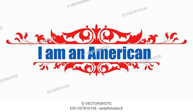 Drawing Art of I am an American - Constitution Day Vector Illustration