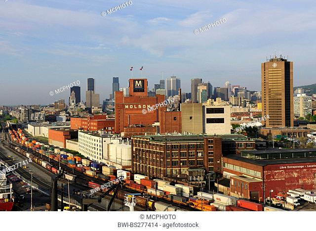 freigt depot and harbour of Montreal, downtown in the background, Canada, Quebec, Montreal