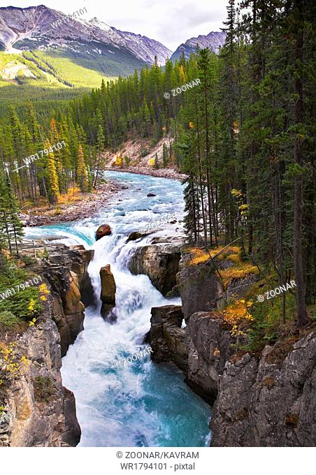 A falls in canyon in the north of Canada