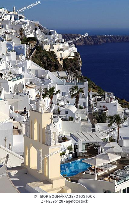 Greece, Cyclades, Santorini, Firostefani, terraces, general view,