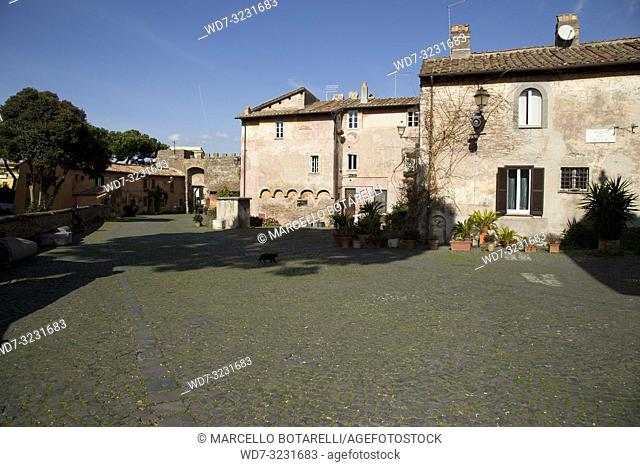 houses in the village of Ostia Antica, near Rome, Italy