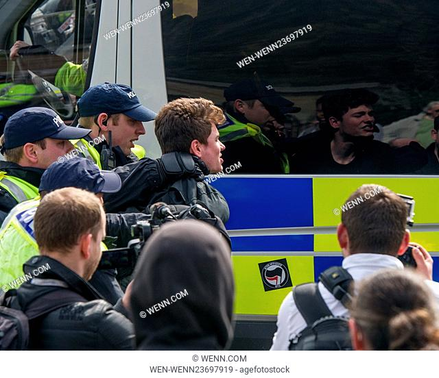 Anti-immigration groups including the National Front (NF) and the English Defence League (EDL) protest in Dover. In an attempt to disrupt the far-right