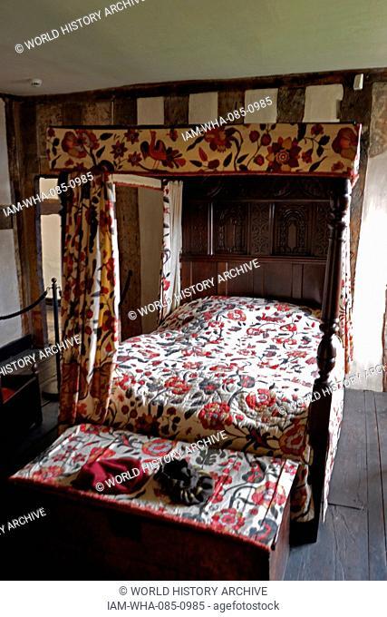 Interior of Blakesley Hall, a Tudor hall on Blakesley Road, Birmingham. Dated 16th Century