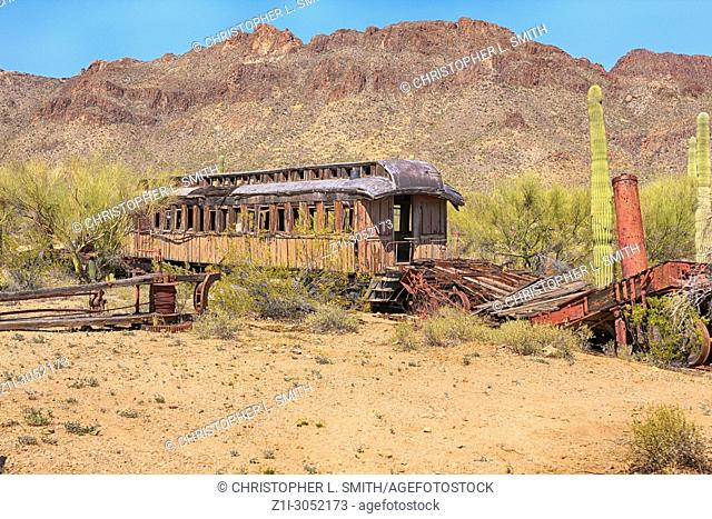 Abandoned film set transport at the Old Tucson Film Studios amusement park in Arizona