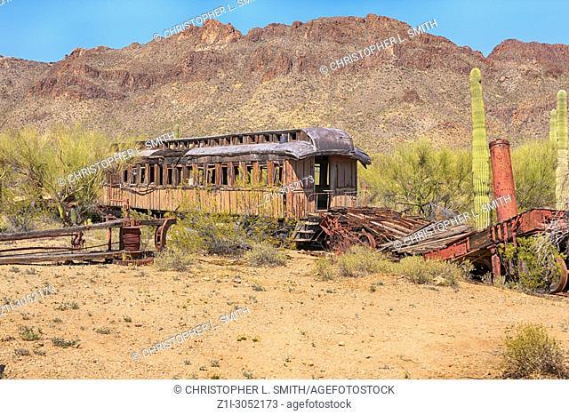 Abandoned film set transport at the Old Tucson Film Studios amusement park in Arizona