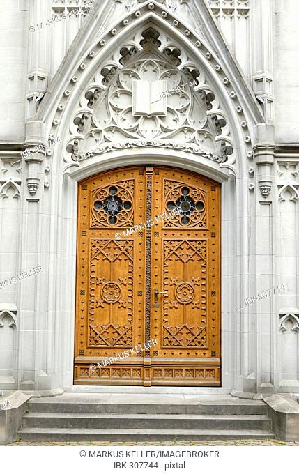 Sankt Gallen - portal from the gothic cathedral saint Laurenzian - Switzerland Europe