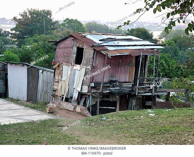 Warped hut at the slums of Asuncion, Paraguay