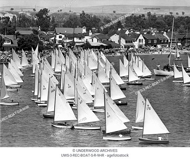 Newport Beach, California: August, 1946.Up to 130 racers compete in the 11th annual Flight Of The Snowbirds sailboat race held in Newport Beach