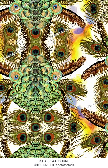 Abstract peacock feather collage