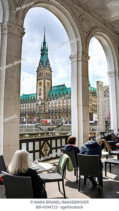 Cafe in the Alster Arcades overlooking City Hall, Hamburg, Germany