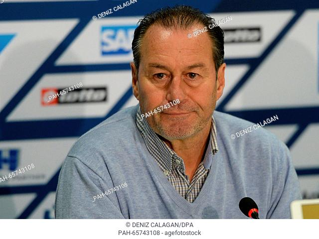 Hoffenheim's head coach Huub Stevens delivers remarks during a press conference at the training centre in Zuzenhausen, Germany, 10 February 2016