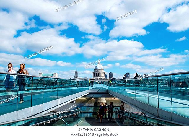 Crossing Millennium Bridge to St Paul's Cathedral; London, England
