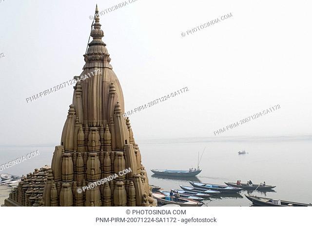 High section view of a temple, Scindia Ghat, Ganges River, Varanasi, Uttar Pradesh, India