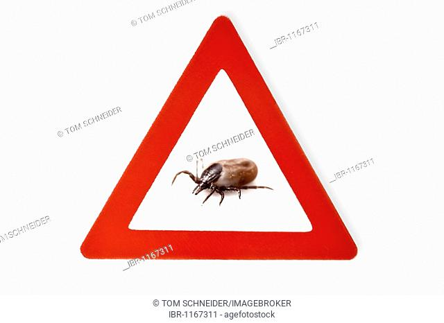 Sign, beware of ticks