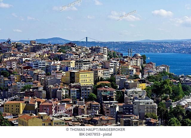 View over the rooftops of Besiktas and Beyoglu towards the Bosphorus, as seen from the Galata Tower, Kuelesi, Istanbul, Turkey