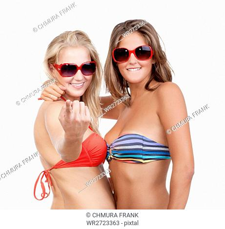 2, attractive, background, beautiful, beckon, bikini, blond, Caucasian, come, expression, face, female, fingers, friends, fun, gesture, girl, happy, invitation