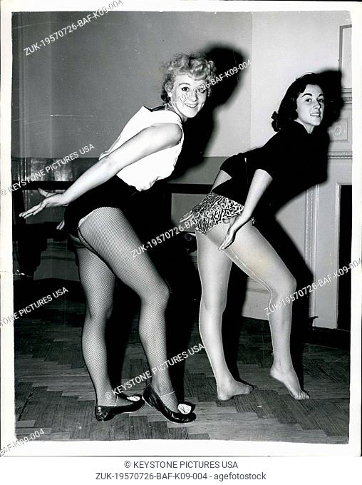 Jul. 26, 1957 - Girls dance can-can for the judge: Two firs-Sheila Joyce (21) of Kingston, Surrey-and Janet Reynolds (18) of Brentwood