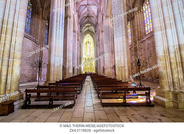 Dominican abbey of Santa Maria de Vitoria, Central Nave of the church, Batalha, Estremadura and Ribatejo Province, Portugal, Unesco World Heritage Site