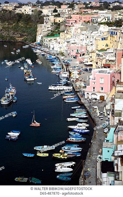 Town view of Corricella port. Procida. Bay of Naples. Campania. Italy