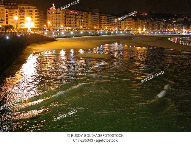 San Sebastian (Donostia) by night. Basque country