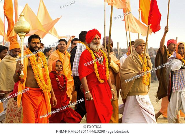 Sadhus during the first royal bath procession in Kumbh Mela festival, Allahabad, Uttar Pradesh, India