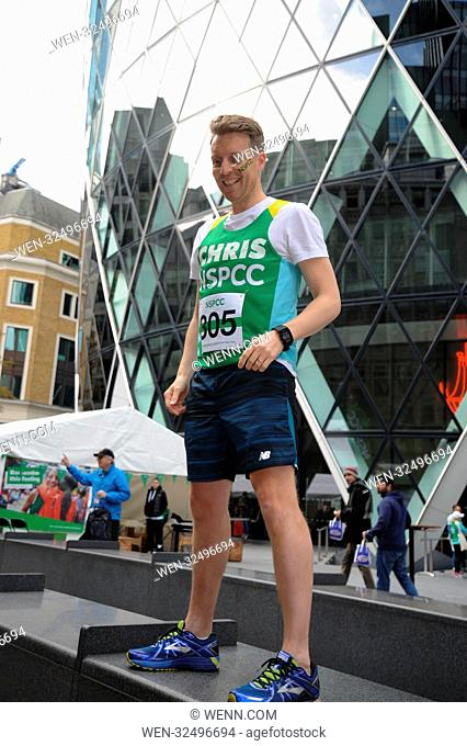 Coronation Street actor Chris Harper Takes on the Gherkin Challenge for the NSPCC. The Gherkin London, Sunday 22nd October Featuring: Chris Harper Where: London