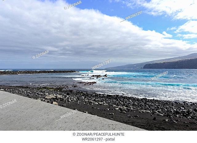 Black sandy beach at Puerto de la Cruz, Tenerife